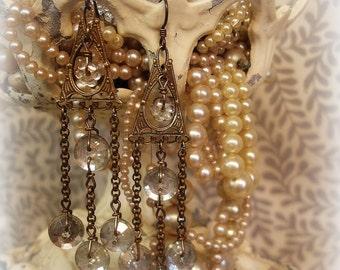 cLosure limited edition vintage assemblage earrings vintage brass component + chain vintage glass flower antique foil back glass buttons