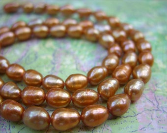 Rusty Golden Yellow Rice-Shaped Freshwater Pearls-Fall Jewelry-One Strand