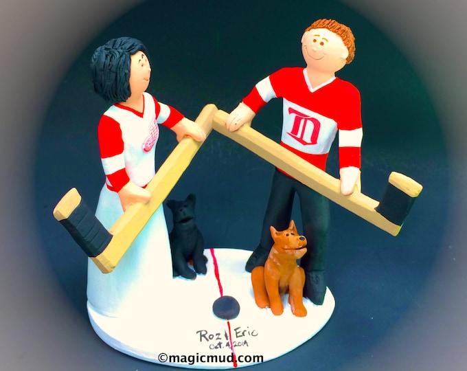 Detroit Red Wings Hockey Wedding Cake Topper - NHL Hockey Wedding Cake Topper, Hockey Bride Wedding Cake Topper