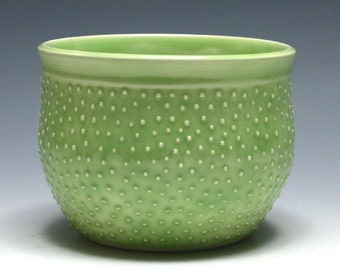 Pale Green Bowl with Raised Dots