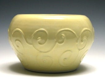 Lemon Yellow Bowl with Raised Swirls