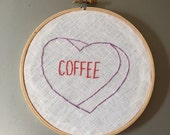 Coffee - hand drawn and embroidered converstion hearts hanging