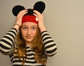 Reversible Crochet Hat- Mickey Mouse and Minnie Mouse Crocheted Costume Hat