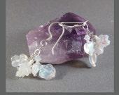 Bridal Bouquet Snow White Heart Flower Earrings by Cornerstoregoddess