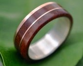 Rose Gold and Silver Un Lado Asi Wood Ring  - ecofriendly 14k recycled rose gold wood wedding ring,  wooden ring, red gold wedding ring