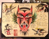 Tattoo Flash Devil Hell Folk