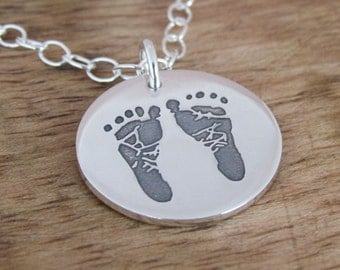 Baby Feet Sterling Silver Double Sided Charm Necklace Personalized Jewelry Hand Stamped