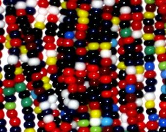 SALE One Hank 11/0 Czech Seed Beads Beading Black White Mix 65