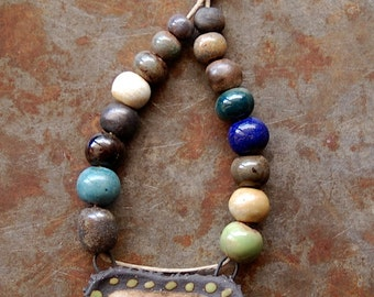 Tribal Path / Ceramic Pendant and Bead Set