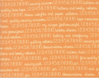 Chestnut Street - Sewing Text in Pumpkin: sku 20272-12 cotton quilting fabric by Fig Tree and Co. for Moda Fabrics - 1 yard