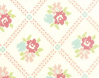 Vintage Picnic - Mayberry Mum in Cream and Coral: sku 55120-17 cotton quilting fabric by Bonnie and Camille for Moda Fabrics - 1 yard