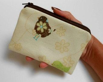 Little Zipper Pouch Coin purse ECO Friendly Padded NEW Emma Birds