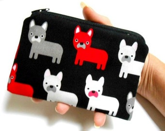 Little Zipper Pouch Coin Purse ECO Friendly Padded NEW Frenchie Pups