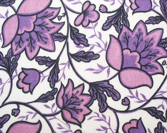 "vintage 60s 70s flower power fabric in zesty lilac and mauve 45"" wide"