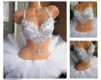 Silver White Winter Wonderland Rave Outfit - Rave Bra and TuTu, Ice Princess, Snow Angel, Christmas, Bachelorette Bridal Outfit