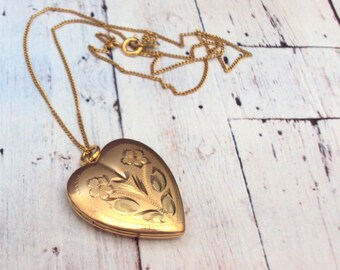 1/20 14K Yellow Gold Filled Heart Locket Etched Flower Design