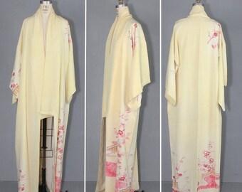 kimono sale / 1950s / silk robe / floral / bohemian / SWEET DAFFODIL vintage kimono