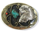 Eagle Belt Buckle with Turquoise & Coral / Large Vintage 1970s Americana / Southwest Native American Inspired