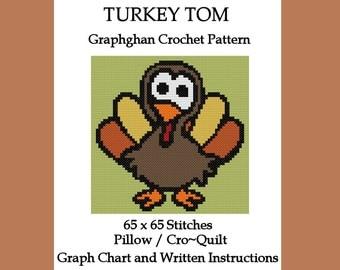 Turkey Tom Pillow/CroQuilt - Graphghan Crochet Pattern