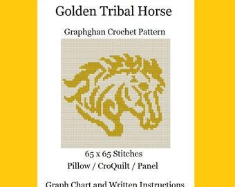 Golden Tribal Horse - Graphghan Crochet Pattern