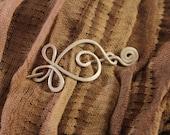 Celtic Design Shawl Pin, Small Sweater Pin, Celtic Pin, Knit Scarf Pin, Silver, Aluminum Wire, SP17