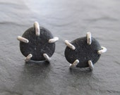 Unisex Silver Stud Earrings Beach Pebble  Post Button Rough Dark Gray Beach stone stud Earrings