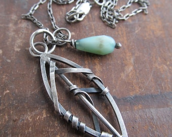Silver Leaf Necklace Wire Leaf Pendant Green Charm Gemstone Necklace Funky Wire Wrapped Necklace Silver Leaf Necklace Funky Silver jewelry