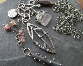 Long Silver Charm Cluster Necklace Leaf Mixed Metal Gemstone Charm Necklace