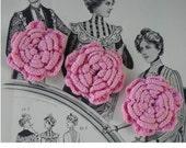 Faded Vintage Croceheted Pink Roses