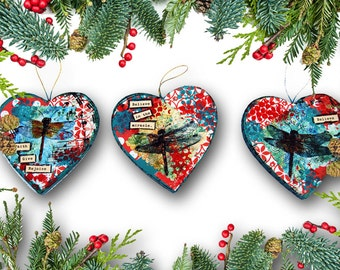 Christmas Ornaments with Dragonfly Art | Set of Three Holiday Ornaments | heart shaped | red and green | memorial ornaments