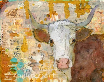Mixed media art PRINT | Cow art | Steer Stare | collage art | frameable print