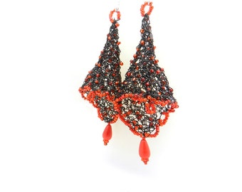 Dangle Earrings, Drop Earrings, Wire Earrings, Wire Crochet, Beaded Earrings, Fairy Bell Earrings, Red and Black Jewelry, Flamenco Earrings