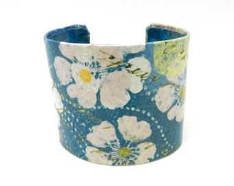 Bracelet Cuff, Cuff Bracelet, Wide Bracelet Cuff, Decoupage Cuff, Decoupage Jewelry, Wearable Art, Blue Floral Jewelry, Flower Bracelet