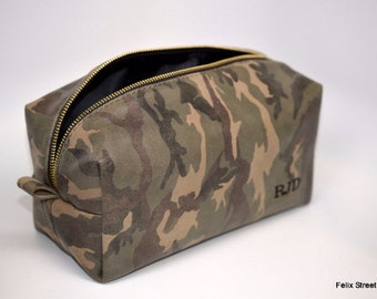 Camo Camouflage Leather Dopp Bag with Free Monogram and Optional Interior Message
