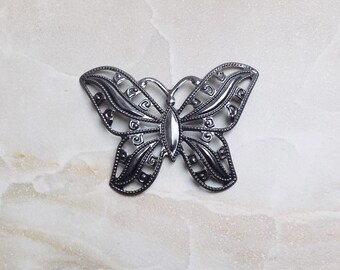 Vintaj Filigree Butterfly metal wrap pendant—large