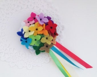 Rainbow flower pin