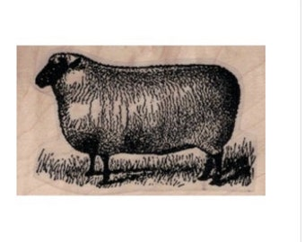 Sheep lamb  by Cat Kerr  Stamp whimsical  Rubber Stamp  19987 animal farm craft supplies scrapbooking stamping