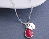 Ruby Necklace, Personalized Ruby Necklace, Sterling Silver Necklace, July Birthstone Jewelry