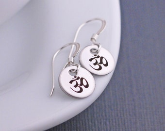 Om Yoga Earrings, Om Jewelry, Short Earrings, Simple Earrings, Ohm Jewelry Yoga Gift