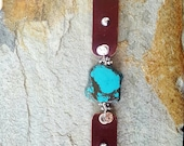 Unique turquoise and Leather bracelet