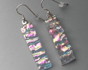 Fused Glass Earrings, Glass Holiday Earrings, Dichroic Drop Earrings, Dichroic Fused Glass Drop Earrings, Long Narrow Glass Earrings