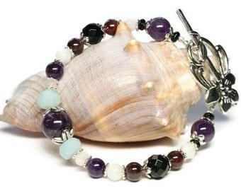 Anti Anxiety Stress Relief Gemstone Wellness Bracelet with Garnet, Amethyst, Amazonite,Black Onyx, Rose Quartz, Moonstone
