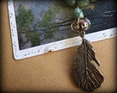 Fall Flight Canadian Jade and Bronze Feather Layering Boho Necklace
