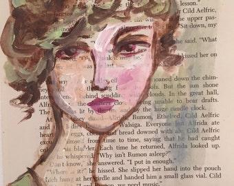 Original acrylic painting on vintage book page
