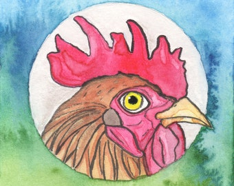Rooster Art Painting, Chicken Art, Rooster Kitchen Decor, Quirky Chicken Lover Gifts, Folk Art Chicken, Funny Animal Art, Whimsical Painting