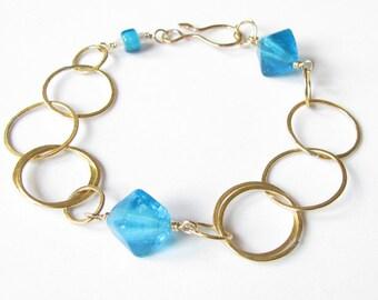 Brass, Vintage Glass, and Gold-Filled Bracelet
