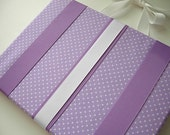 Hair Bow Holder ... Fabric HAIRBOW HOLDER ... lavender and white Dots ... for hair bows clips barrettes and clippies ... Free Ship