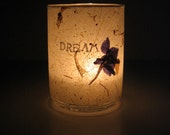 Illuminated Earth Light - DREAM - candle, candle holder, botanical, glass, handmade paper, delphinium, word, home décor, modern, ink, ooak