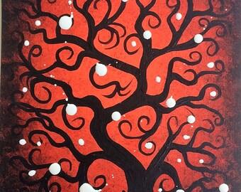 TREE painting, Red Tree, Curly branches, Original Acrylic painting, Modern Art by Jordanka Yaretz