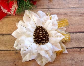 Gold Pinecone Poinsettia Hair Clip, Holiday Pinup Hair Clip, Christmas Hair Clip